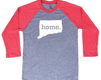 Homeland Tees Connecticut Home Tri-Blend Raglan Baseball Shirt