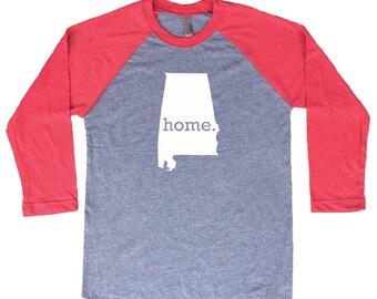 Homeland Tees Alabama Home Tri-Blend Raglan Baseball Shirt