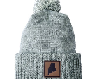 Homeland Tees Maine Leather Patch Cuff Beanie