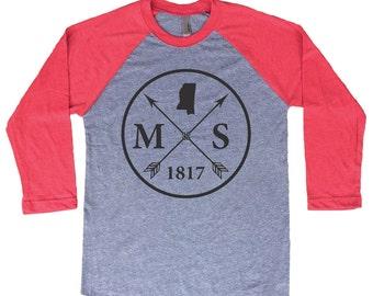 Homeland Tees Mississippi Arrow Tri-Blend Raglan Baseball Shirt