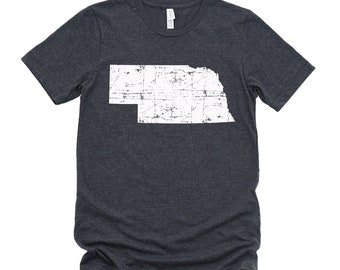 Homeland Tees Nebraska State Vintage Look Distressed Unisex T-shirt