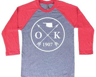 Homeland Tees Oklahoma Arrow Tri-Blend Raglan Baseball Shirt