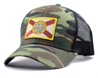 Homeland Tees Florida Flag Hat - Army Camo Trucker