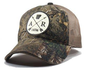 Homeland Tees Arkansas Arrow Hat - Realtree Camo Trucker