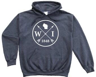 Homeland Tees Wisconsin Arrow Pullover Hoodie Sweatshirt