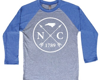 Homeland Tees North Carolina Arrow Tri-Blend Raglan Baseball Shirt