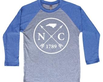 Homeland Tees North Carolina Arrow Tri-Blend Raglan Baseball Shirt