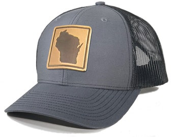 Homeland Tees Wisconsin Leather Patch Trucker Hat