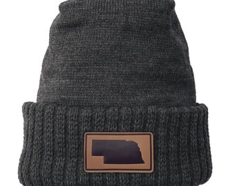 Homeland Tees Nebraska Leather Patch Cuff Beanie