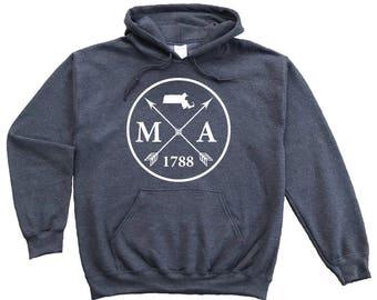 Homeland Tees Massachusetts Arrow Pullover Hoodie Sweatshirt