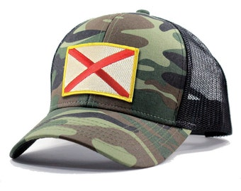 Homeland Tees Alabama Flag Hat - Army Camo Trucker