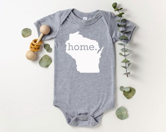 Homeland Tees Wisconsin Home Bodysuit Baby Boy Girl Newborn Coming Home Outfit Shower Gift