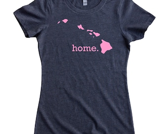 ec331247 Homeland Tees Hawaii Home State Women's T-Shirt - Pink Edition