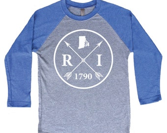 Homeland Tees Rhode Island Arrow Tri-Blend Raglan Baseball Shirt