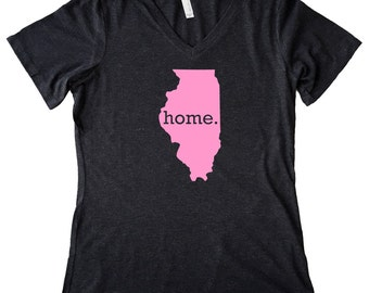 V Neck Homeland Tees Illinois Home State Women's Triblend T-Shirt - Pink Edition