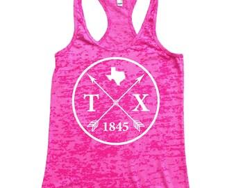Homeland Tees Texas Arrow Burnout Racerback Tank Top