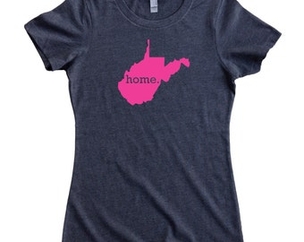West Virginia Home State T-Shirt Women's Tee PINK EDITION - Sizes S-XXL