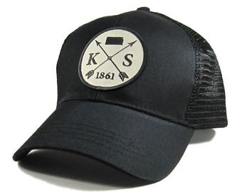 01c31a5cca2 Homeland Tees Kansas Arrow Hat - All Black Trucker