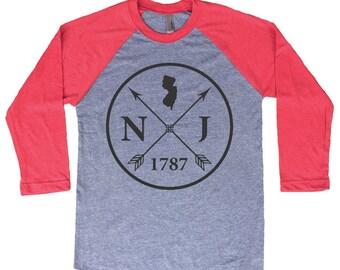 Homeland Tees New Jersey Arrow Tri-Blend Raglan Baseball Shirt