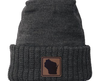 Homeland Tees Wisconsin Leather Patch Cuff Beanie