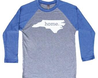 Homeland Tees North Carolina Home Tri-Blend Raglan Baseball Shirt