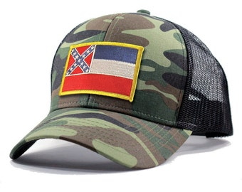 Homeland Tees Mississippi Flag Hat - Army Camo Trucker