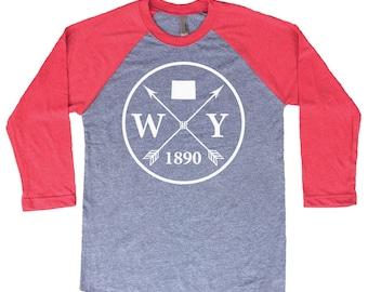 Homeland Tees Wyoming Arrow Tri-Blend Raglan Baseball Shirt
