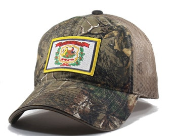 Homeland Tees West Virginia Flag Hat - Realtree Camo Trucker