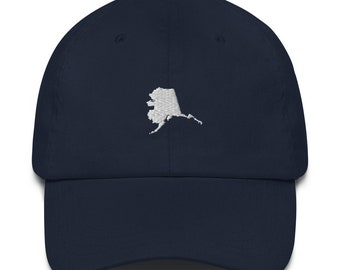 Homeland Tees Embroidered Dad Hat Alaska State Outline - White Logo