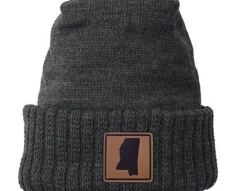 Homeland Tees Mississippi Leather Patch Cuff Beanie