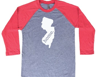 Homeland Tees New Jersey Home Tri-Blend Raglan Baseball Shirt