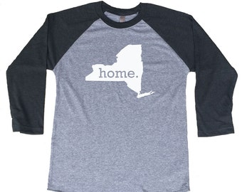 Homeland Tees New York Home Tri-Blend Raglan Baseball Shirt
