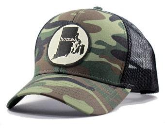 Homeland Tees Rhode Island Home Army Camo Trucker Hat