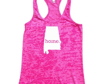 Homeland Tees Alabama Home Burnout Racerback Tank Top - Women's Workout Tank Top