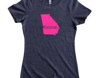 Homeland Tees Georgia Home State Women's T-Shirt - PINK EDITION