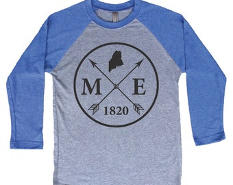Homeland Tees Maine Arrow Tri-Blend Raglan Baseball Shirt