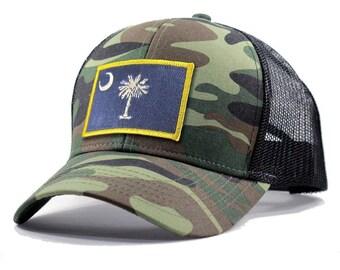 Homeland Tees South Carolina Flag Hat - Army Camo Trucker