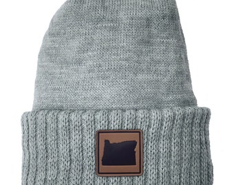 Homeland Tees Oregon Leather Patch Cuff Beanie