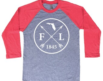 Homeland Tees Florida Arrow Tri-Blend Raglan Baseball Shirt