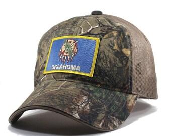 Homeland Tees Oklahoma Flag Hat - Realtree Camo Trucker