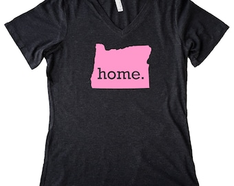 V Neck Oregon Home State T-Shirt Women's PINK EDITION Triblend Tee - Sizes S-XXL