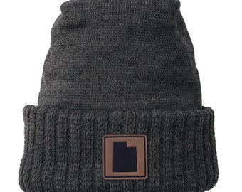 Homeland Tees Utah Leather Patch Cuff Beanie