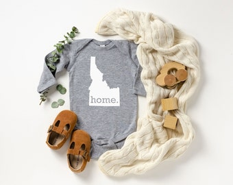 Homeland Tees Idaho Home Unisex Long Sleeve Baby Bodysuit