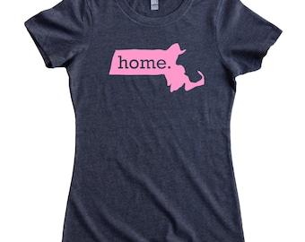 Massachusetts Home State T-Shirt Women's Tee PINK EDITION - Sizes S-XXL