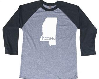Homeland Tees Mississippi Home Tri-Blend Raglan Baseball Shirt