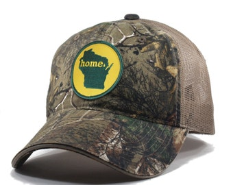 Homeland Tees Wisconsin Home State Realtree Camo Trucker Hat