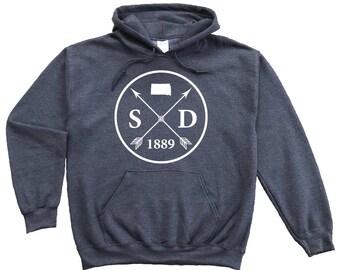Homeland Tees South Dakota Arrow Pullover Hoodie Sweatshirt