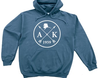 Homeland Tees Alaska Arrow Pullover Hoodie Sweatshirt