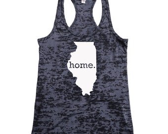 Homeland Tees Illinois Home Burnout Racerback Tank Top - Women's Workout Tank Top