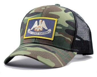 Homeland Tees Louisiana Flag Hat - Army Camo Trucker